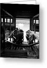 Boathouse At Maligne Lake Greeting Card