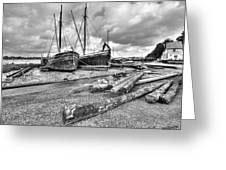 Boats And Logs At Pin Mill  Greeting Card