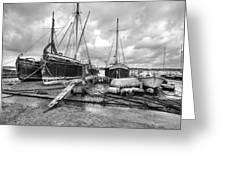 Boats On The Hard Pin Mill Greeting Card