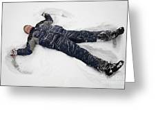 Boy And Snow Angel Greeting Card
