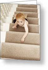 Boy Climbing Stairs Greeting Card
