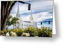 Brigham City Temple Street Lights Greeting Card