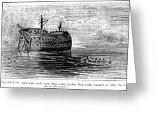British Prison Ship, 1770s Greeting Card