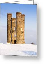 Broadway Tower In Winter Snow Greeting Card