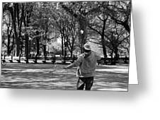 Bubble Boy Of Central Park In Black And White Greeting Card