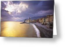 Buildings Along The Coast At Sunset Greeting Card