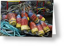Buoys And Crabpots On The Oregon Coast Greeting Card by Carol Leigh
