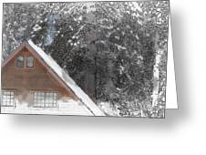 Cabin In The Winter Greeting Card