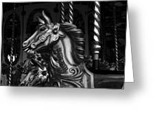 Carousel Horses Mono Greeting Card