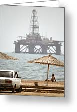 Caspian Sea Oil Rig Greeting Card by Ria Novosti