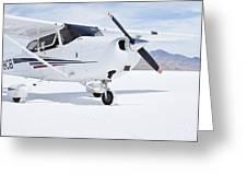 Cessna Aircraft On Bonneville Salt Flats Greeting Card