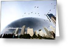 Chicago Cityscape The Bean Greeting Card