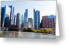 Chicago River Skyline With Sears-willis Tower Greeting Card