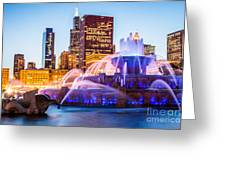 Chicago Skyline At Night With Buckingham Fountain Greeting Card by Paul Velgos