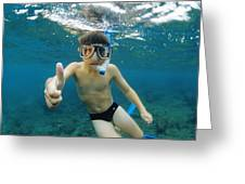 Child Snorkelling Greeting Card by Alexis Rosenfeld
