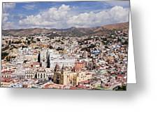 City Of Guanajuato From The Pipila Overlook At Dusk Greeting Card by Jeremy Woodhouse