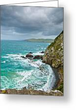 Cliffs Under Thunder Clouds And Turquoise Ocean Greeting Card