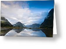 Cloudy Morning At Milford Sound At Sunrise Greeting Card