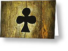 Clover Shape Cut Out Of Wooden Door Greeting Card