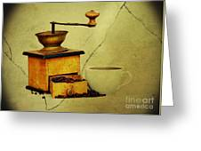 Coffee Mill And Beans In Grunge Style Greeting Card