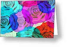 Colorful Roses Design Greeting Card by Setsiri Silapasuwanchai