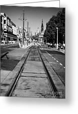 Completed Tram Rails On Princes Street Edinburgh Scotland Uk United Kingdom Greeting Card