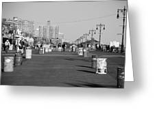 Coney Island Boardwalk In Black And White Greeting Card