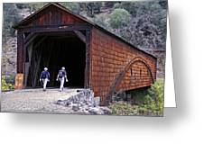 Covered Bridge Walkers Greeting Card