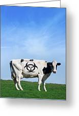 Cow And Biohazard Sign, Artwork Greeting Card