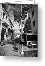 crossing point in ledra street in the UN buffer zone in the green line dividing cyprus Greeting Card