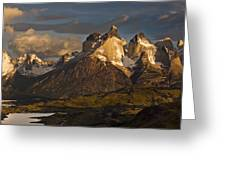 Cuernos Del Paine And Lago Pehoe Greeting Card