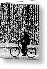 Cycling Silhouette Greeting Card by Carlos Caetano