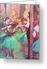 Dancers - Pink And Green Greeting Card