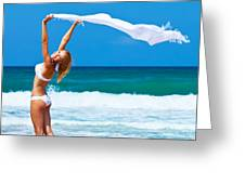 Dancing Happy Girl On The Beach Greeting Card