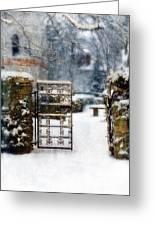 Decorative Iron Gate In Winter Greeting Card