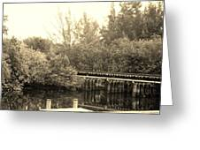 Dock On The River In Sepia Greeting Card