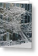 Drolet Street In Winter, Montreal Greeting Card