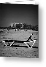 Empty Sun Lounger On Cyprus Tourist Organisation Municipal Beach In Larnaca Bay Republic Of Cyprus Greeting Card