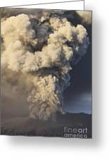Eruption Of Ash Cloud From Mount Bromo Greeting Card