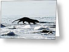 European Otter On Sea Ice Greeting Card