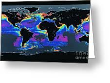 False-col Satellite Image Of Worlds Greeting Card by Dr. Gene Feldman, NASA Goddard Space Flight Center