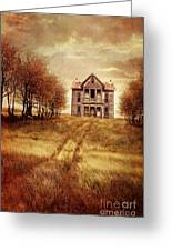 Farm House On Hill With Autumn Scenery Greeting Card