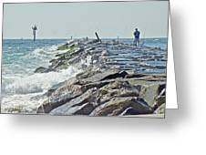 Fishing The Jetty - Island Beach State Park   Nj Greeting Card