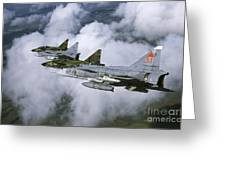 Four Saab 37 Viggen Fighters Greeting Card