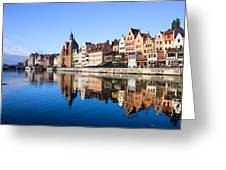 Gdansk Old Town And Motlawa River Greeting Card