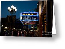 Ghirardelli Chocolate Signs At Night Greeting Card