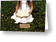 Girl Is Reading A Book Greeting Card