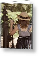 Girl Looking Over Iron Gate Greeting Card
