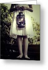 Girl With Oil Lamp Greeting Card