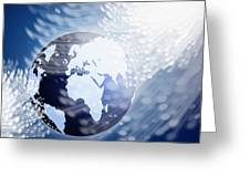 Globe With Fiber Optics Greeting Card